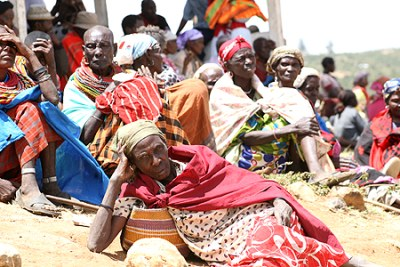 Elderly Samburu women patiently wait for the distribution of relief food at Maral (file photo).