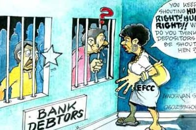 A cartoonist in Nigeria's Vanguard newspaper has little sympathy for bank debtors. The Economic and Financial Crimes Commission is telling them:
