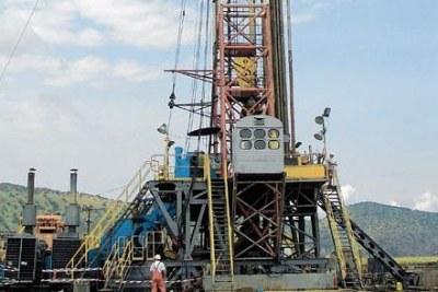 An oil rig near the shores of Lake Albert in western Uganda.