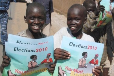 Sudanese children in the southern capital Juba take part in efforts to promote ongoing voter registration for April 2010 elections