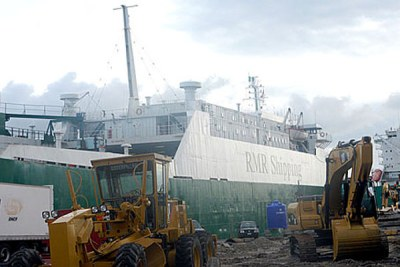 M.V Gumel the ship suspected to be carrying Toxic waste at the Tincan Island Port Lagos.