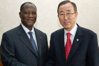 Opposition candidate Alassane Ouattara, left, with UN Secretary-General Ban Ki-moon in 2008. The electoral commission said Ouattara won Sunday's poll with 54 percent of the vote, but the Constitutional Council overturned the result.