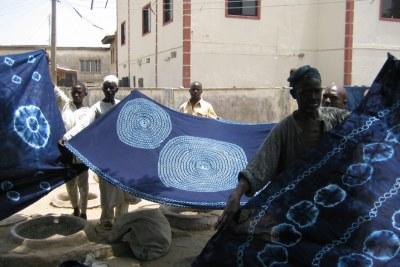Indigo-dyed Nigerian textiles.