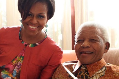 Michelle Obama avec Nelson Mandela.