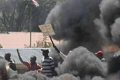 Violences postélectorales au Kenya en 2008.