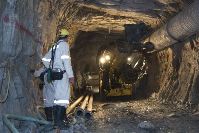 Drilling underground in a South African gold mine (file photo).