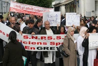 Le personnel médical en grève.