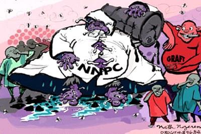 Cartoon depicting illegalities in the Nigerian petroleum sector.