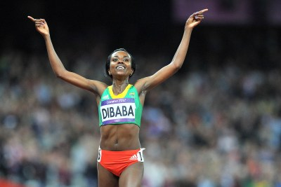 Ethiopia's Tirunesh Dibaba celebrates winning the gold medal in the women's 10,000m race in London.