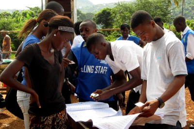 Sierra Leoneans take to the polls in Freetown, the capital of the West African nation.