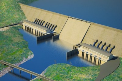 Artist's impression of the Renaissance Dam under construction on the Blue Nile in Ethiopia.