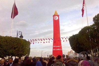 Tunisians swarm Bourguiba Avenue to commemorate the second anniversary of the revolution.