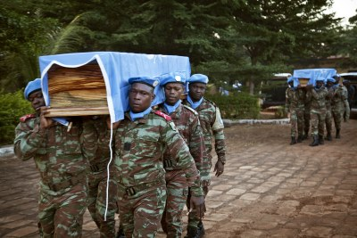 The mission in Mali has been a dangerous one for peacekeepers. Weeks ahead of the elections, two soldiers from Chad were killed during a suicide attack in Tessalit. Peacekeepers from Benin carry the coffins of their colleagues during a ceremony held for the two, and for a Nigerien peacekeeper who died of illness.