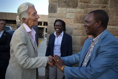 International Monetary Fund managing director Christine Lagarde is greeted at the Nairobi International Airport by Kenya's Central Bank Governor Njuguna Ndungu (file photo).