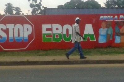 A Stop Ebola sign along a Monrovia street.