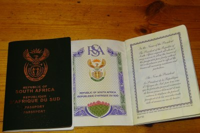 South African passport (file photo).