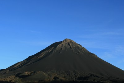 The summit of Pico do Fogo, the highest peak in the Cape Verde archipelago, located on the island of Fogo.