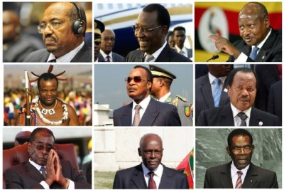 Some African leaders with 20 years in power, from top left to bottom right:  Omar al-Bashir, Sudan; Idress Deby Itno, Chad; Yoweri Museveni, Uganda; King Mswati III, Swaziland; Denis Sassou Nguesso, Republic of the Congo; Paul Biya, Cameroon; Robert Mugabe, Zimbabwe; Jose Eduardo Dos Santos, Angola; Teodoro Obiang Nguema Mbasongo, Equatorial Guinea.