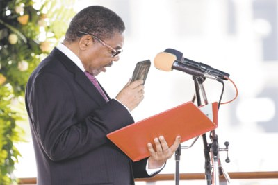 Ali Mohamed Shein is sworn in as Zanzibar as president at Aman Stadium yesterday. Dr Shein began a second five-year term after winning last Sunday's presidential election.