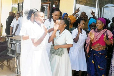 Doctors, nurses and other members of staff at Mtwara Referral Hospital.