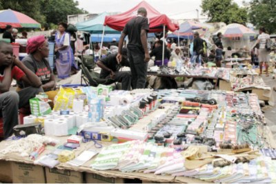 Vendors in Zimbabwe selling imported products.