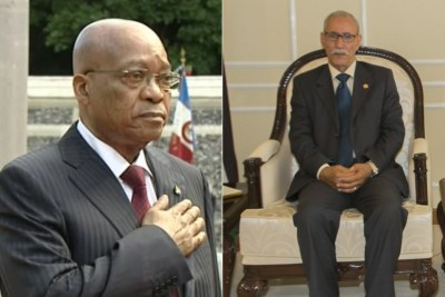 Left: President Jacob Zuma. Right: President of the Sahrawi Arab Democratic Republic, Brahim Ghali.