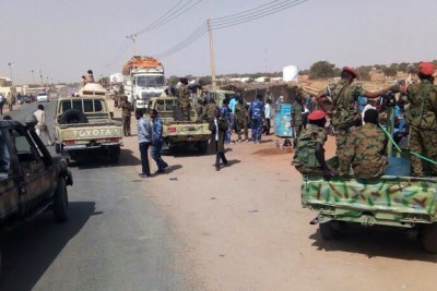 Combined government forces on the road to El Borsa in the east of El Fasher