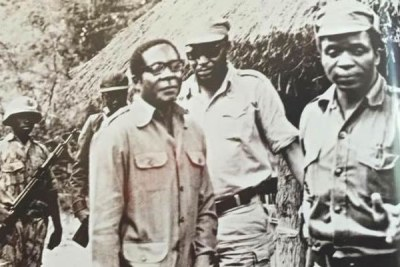 Robert Mugabe, Josiah Tongogara and Emmerson Mnangagwa before Zimbabwe's independence (file photo).