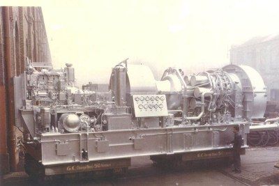 GE's first licensed gas turbine from Belfort, France, shown here in 1959 and later sent to Algeria.