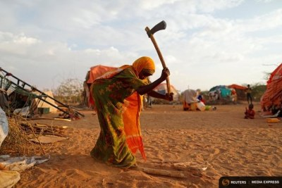 A woman at a camp for people diplaced by the drought in Somalia.