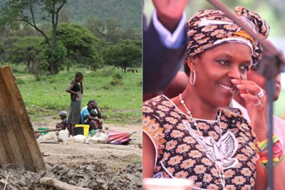 From left, one of the families affected by the evictions and Grace Mugabe, right.