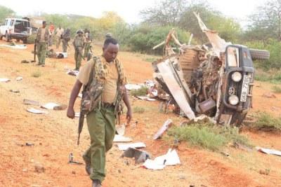 Le site de l'explosion à Mandera le 24 mai 2017.
