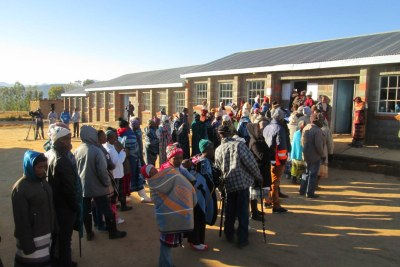 Voters braced the chilly morning weather to vote at Malumeng Primary School, in Thabana-Morena constituency.
