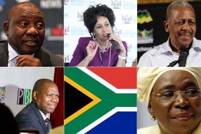 Deputy President Cyril Ramaphosa, Human Settlements Minister Lindiwe Sisulu, NEC member Mathews Phosa, ANC Treasurer-General Zweli Mkhize and Nkosazana Dlamini-Zuma former AU chairperson.