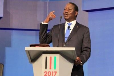 Le porteur de drapeau Nasa Raila Odinga lors du débat pour les principaux candidats à la présidentielle à l'Université catholique le 24 juillet 2017. Le président Uhuru Kenyatta n'a pas assisté.