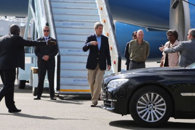John Kerry when he landed in Kenya on his last visit to the country as Secretary of State.