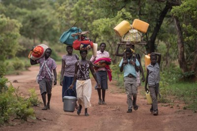 Civilians fleeing Kajo Keji county, toward the southern border with Uganda