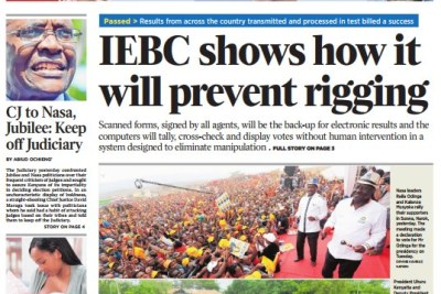 Daily Nation cover page.