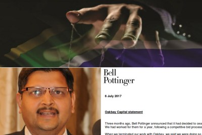 Top: Title image of former public protector Thuli Madonsela's State Capture report. Bottom-left: Atul Gupta. Bottom-right: Bell Pottinger statement on ceasing work with the Gupta-owned Oakbay company.