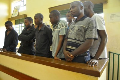 The suspects in the dock at Nabweru Court.