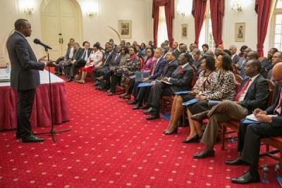 President Uhuru Kenyatta speaks during a meeting with members of the Kenya Private Sector Alliance at State House, Nairobi.
