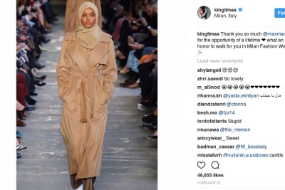 Halima Aden at Milan Fashion Week.
