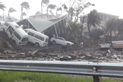 The collapsed roof of King Edward Hospital in Durban.