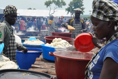 Refugees at Pagirinya Refugee settlement in Adjumani, near Uganda's border with South Sudan.
