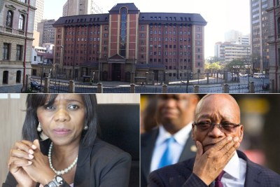 Top: North Gauteng High Court. Bottom-left: Former public protector Thuli Madonsela. Bottom-right: President Jacob Zuma.