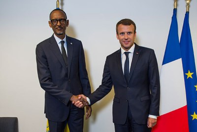 President Paul Kagame met his French counterpart Emmanuel Macron in New York on September 18, 2017.