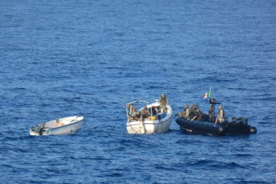 Italian marines arrested six pirate suspects after attacks on a container ship and a fishing vessel in the Southern Somali Basin.