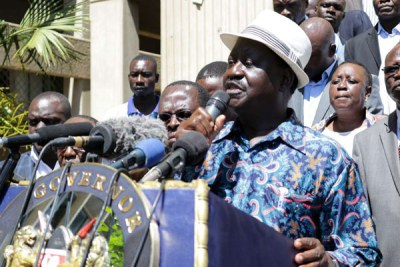 Kenya's opposition leader Raila Odinga addressing the media in western Kisumu City on December 4, 2017.