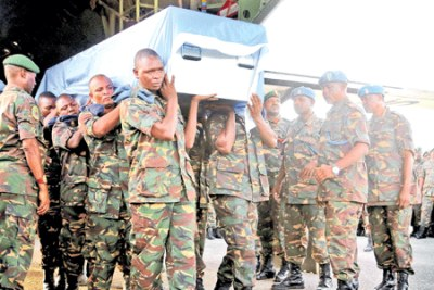 14 bodies of Tanzanian peacekeeper who were killed in the DR Congo arrived at Terminal 1 of the Julius Nyerere International Airport (file photo).