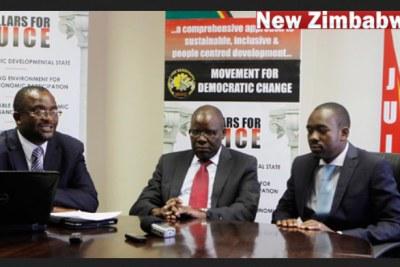 From left, MDC Alliance leaders Douglas Mwonzora, Tendai Biti and Nelson Chamisa (file photo).